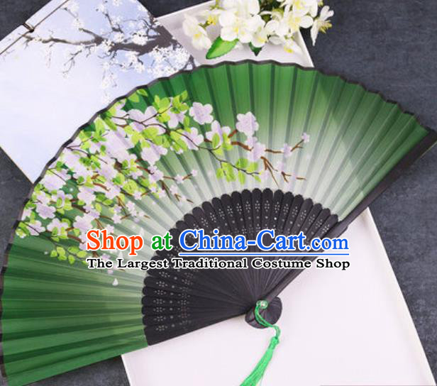 Chinese Traditional Classical Dance Printing Peach Blossom Green Silk Folding Fans Handmade Accordion Bamboo Fan