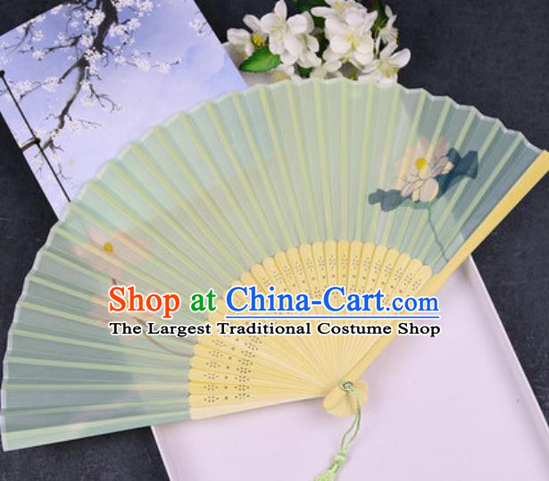 Chinese Traditional Classical Dance Printing Lotus Green Silk Folding Fans Handmade Accordion Bamboo Fan