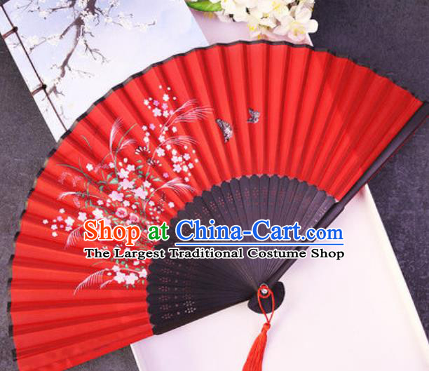 Chinese Traditional Classical Dance Printing Flowers Butterfly Red Silk Folding Fans Handmade Accordion Bamboo Fan