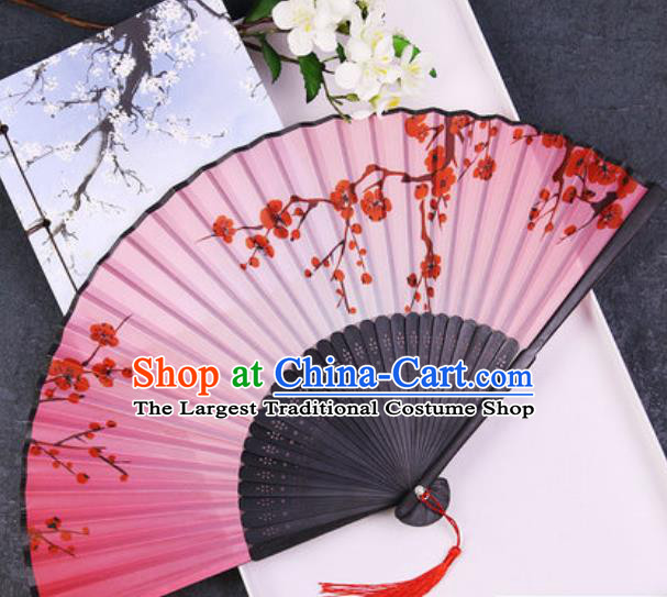 Chinese Traditional Classical Dance Printing Plum Pink Silk Folding Fans Handmade Accordion Bamboo Fan