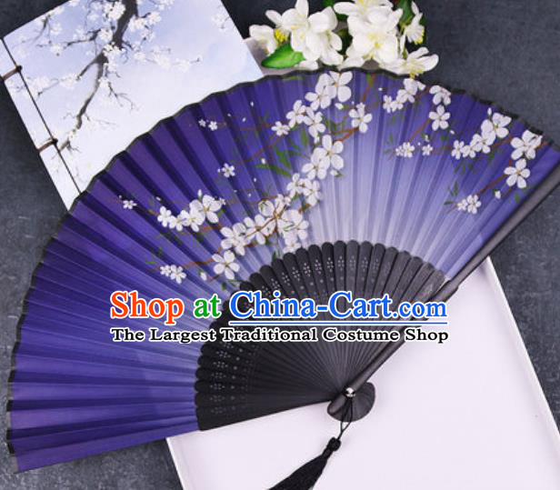 Chinese Traditional Classical Dance Printing Plum Purple Silk Folding Fans Handmade Accordion Bamboo Fan