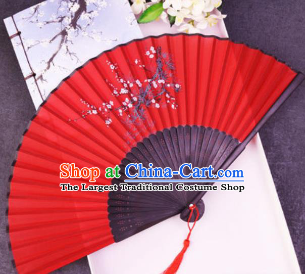 Chinese Traditional Classical Dance Printing Plum Red Silk Folding Fans Handmade Accordion Bamboo Fan