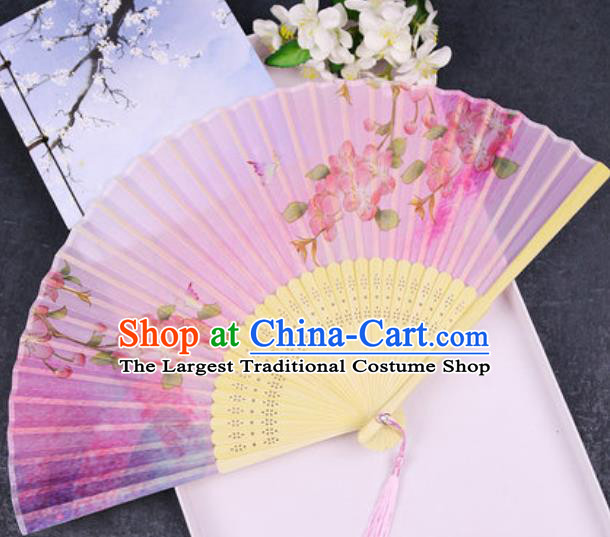 Chinese Traditional Classical Dance Printing Peach Blossom Pink Silk Folding Fans Handmade Accordion Bamboo Fan