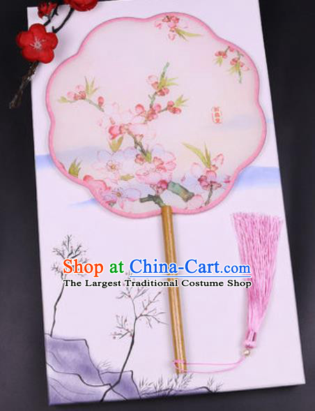 Chinese Traditional Painting Peach Flowers Palace Fans Handmade Classical Dance Silk Fan for Women