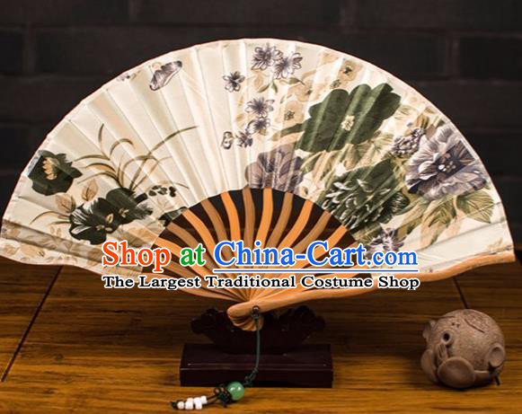 Traditional Chinese Printing Summer Lotus Silk Fan China Bamboo Accordion Folding Fan Oriental Fan