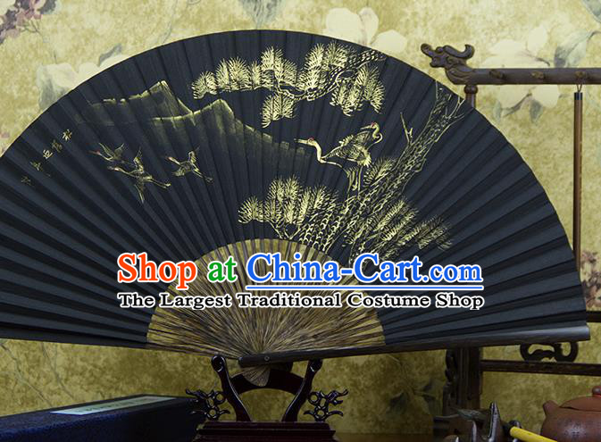 Traditional Chinese Hand Painting Pine Crane Mulberry Paper Fan China Accordion Folding Fan Oriental Fan