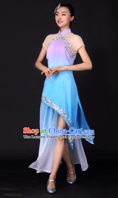 Chinese Traditional Classical Dance Blue Qipao Dress China Umbrella Dance Stage Performance Costume for Women
