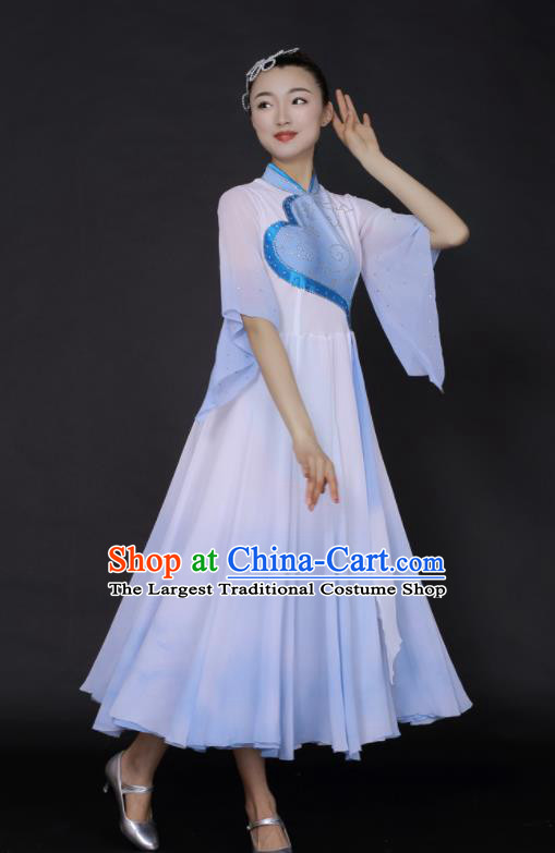 Chinese Fan Dance Umbrella Dance Blue Dress Traditional Classical Dance Stage Performance Costume for Women
