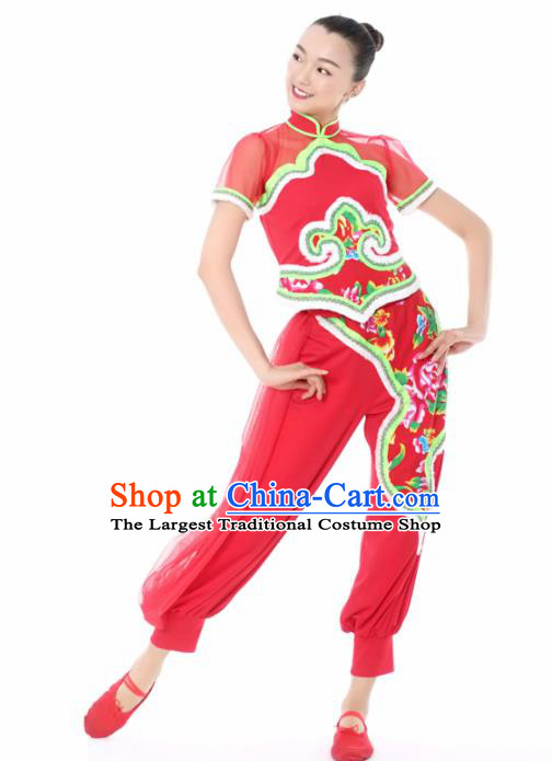 Chinese Traditional Yangko Dance Red Veil Outfits Folk Dance Stage Performance Costume for Women
