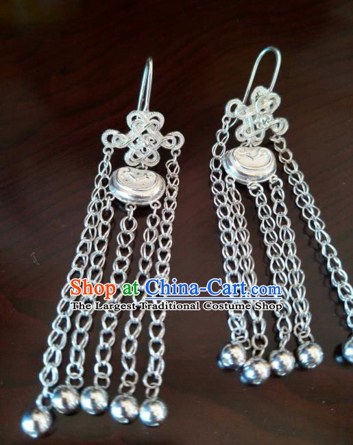Handmade Chinese Zang Nationality Bells Tassel Silver Earrings Traditional Tibetan Ethnic Accessories for Women