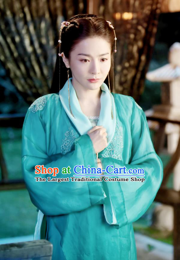 Chinese Drama Devastating Beauty Ancient Patrician Lady Cheng Yelan Blue Costume and Headpiece for Women