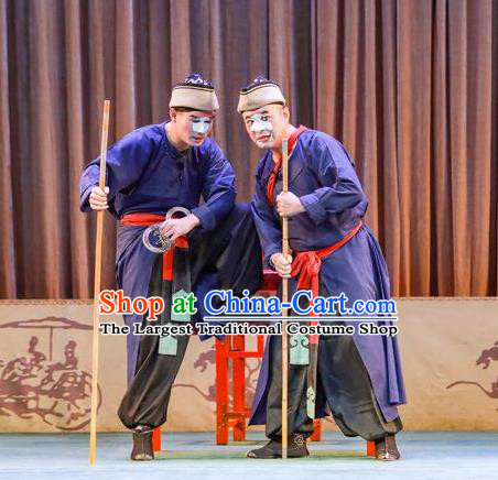Chinese Peking Opera Figurant Apparels Costumes San Cha Kou Clown Chou Garment and Headwear