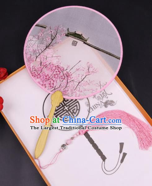 Chinese Traditional Embroidered Peach Blossom Palace Fans Handmade Classical Dance Ebony Round Fan for Women
