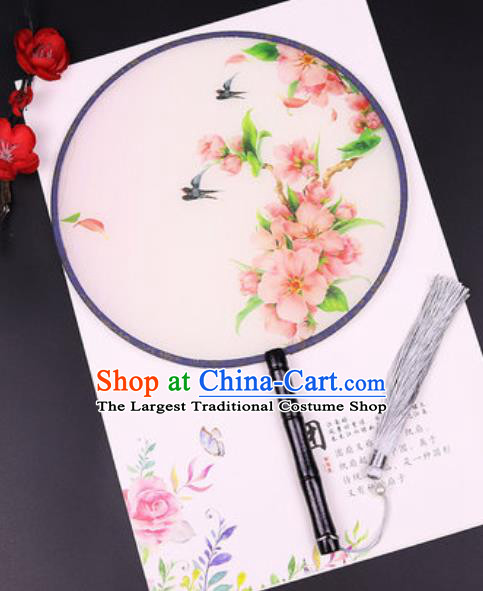 Chinese Traditional Printing Peach Blossom Round Fans Handmade Classical Dance Ebony Palace Fan for Women
