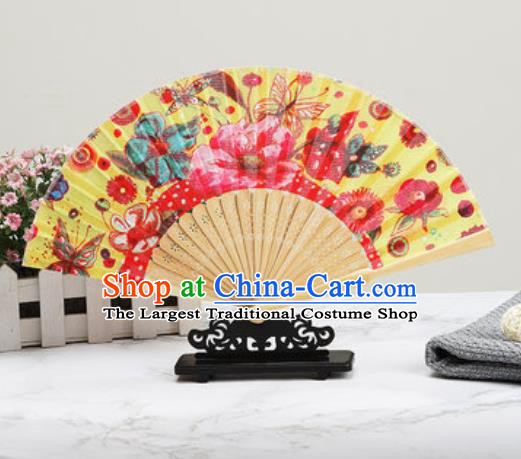 Chinese Traditional Printing Butterfly Flowers Yellow Silk Fan Classical Dance Accordion Fans Folding Fan