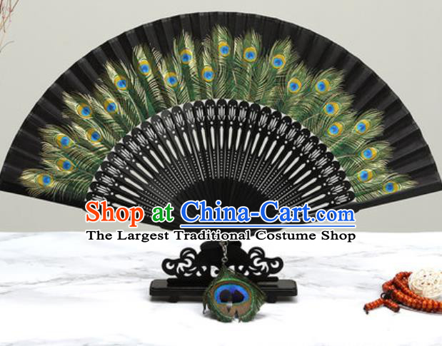 Chinese Traditional Printing Peacock Feather Black Silk Fan Classical Dance Accordion Fans Folding Fan