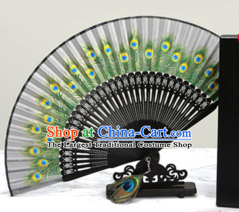 Chinese Traditional Printing Peacock Feather Grey Silk Fan Classical Dance Accordion Fans Folding Fan