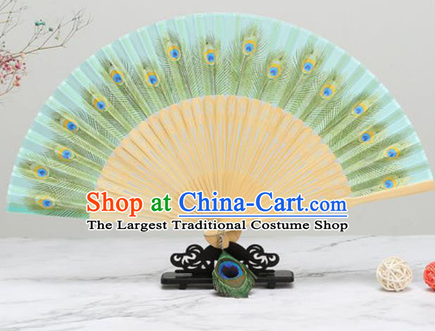 Chinese Traditional Printing Peacock Feather Light Green Silk Fan Classical Dance Accordion Fans Folding Fan