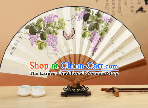 Chinese Traditional Hand Painting Grape Paper Fan Classical Dance Accordion Fans Folding Fan