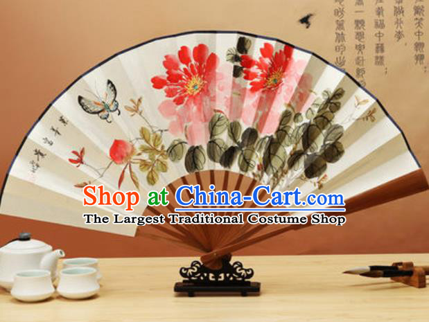 Chinese Traditional Hand Painting Peony Butterfly Paper Fan Classical Dance Accordion Fans Folding Fan