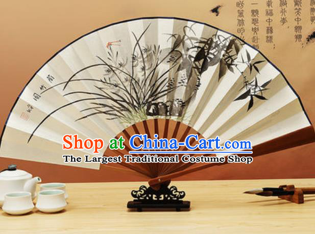 Chinese Traditional Hand Painting Orchids Paper Fan Classical Dance Accordion Fans Folding Fan