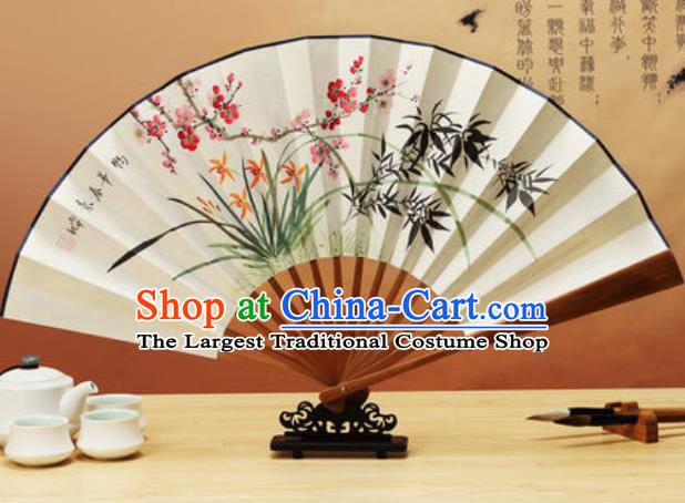 Chinese Traditional Hand Painting Orchids Plum Bamboo Paper Fan Classical Dance Accordion Fans Folding Fan