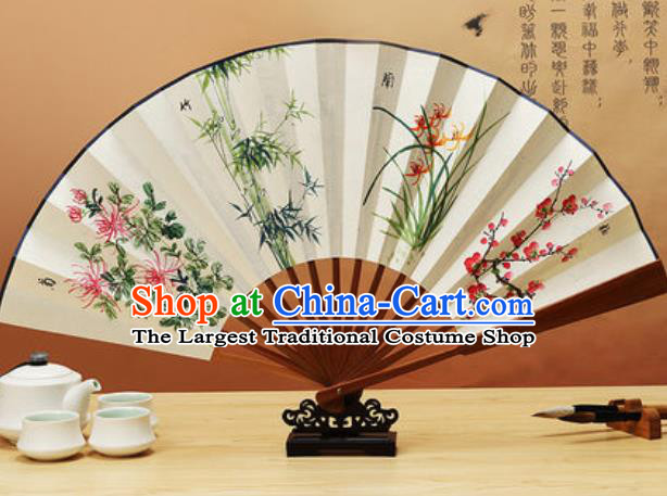 Chinese Traditional Hand Painting Orchids Plum Chrysanthemum Bamboo Paper Fan Classical Dance Accordion Fans Folding Fan
