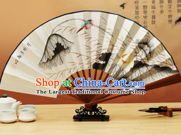 Chinese Traditional Hand Painting Lotus Paper Fan Classical Dance Accordion Fans Folding Fan