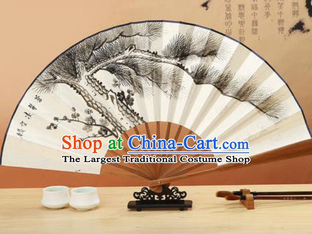 Chinese Traditional Hand Painting Pine Paper Fan Classical Dance Accordion Fans Folding Fan