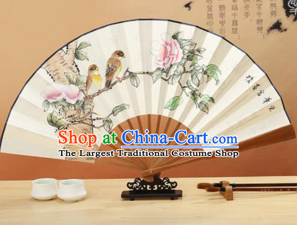 Chinese Traditional Hand Painting Peony Birds Paper Fan Classical Dance Accordion Fans Folding Fan