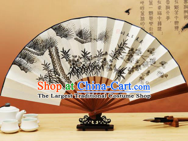 Chinese Traditional Hand Painting Pine Bamboo Plum Paper Fan Classical Dance Accordion Fans Folding Fan
