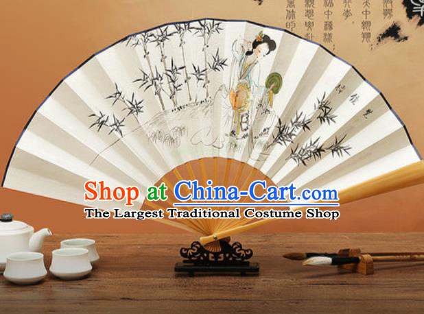Chinese Traditional Hand Painting Bamboo Beauty Paper Fan Classical Dance Accordion Fans Folding Fan