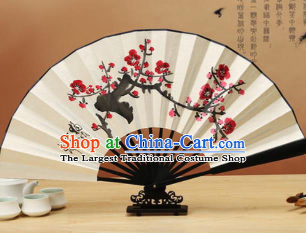 Chinese Traditional Hand Painting Plum Blossom Paper Fan Classical Dance Accordion Fans Folding Fan