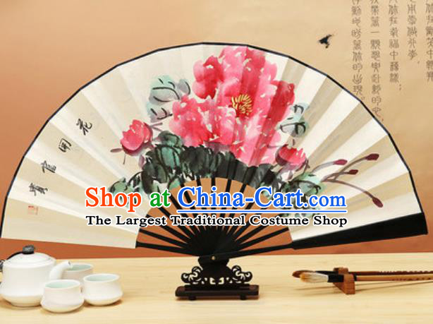 Chinese Traditional Hand Painting Peony Ebony Paper Fan Classical Dance Accordion Fans Folding Fan