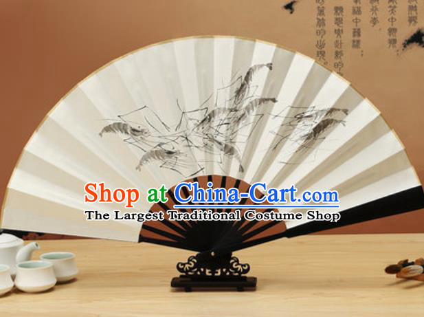 Chinese Traditional Hand Painting Shrimp Ebony Paper Fan Classical Dance Accordion Fans Folding Fan