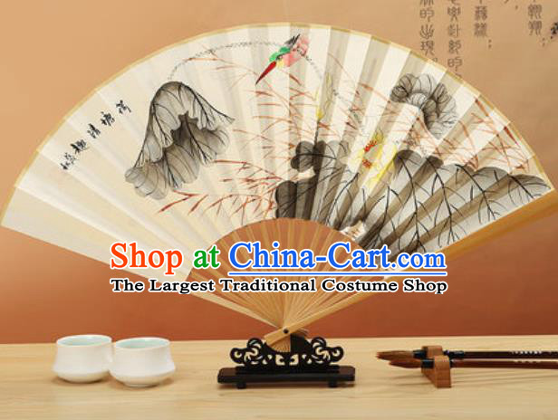 Chinese Hand Painting Lotus Paper Fan Traditional Classical Dance Accordion Fans Folding Fan