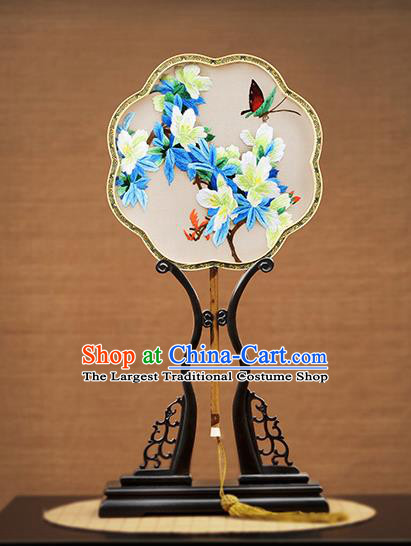Handmade Chinese Embroidered Flowers Butterfly Silk Round Fans Traditional Classical Dance Palace Fan for Women