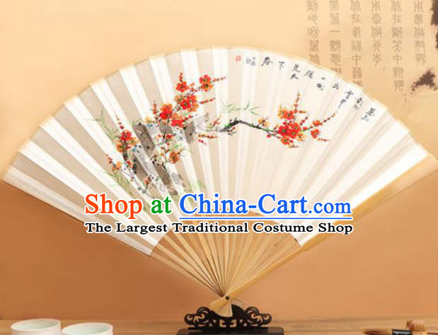 Chinese Hand Painting Plum Flowers Paper Fan Traditional Classical Dance Accordion Fans Folding Fan