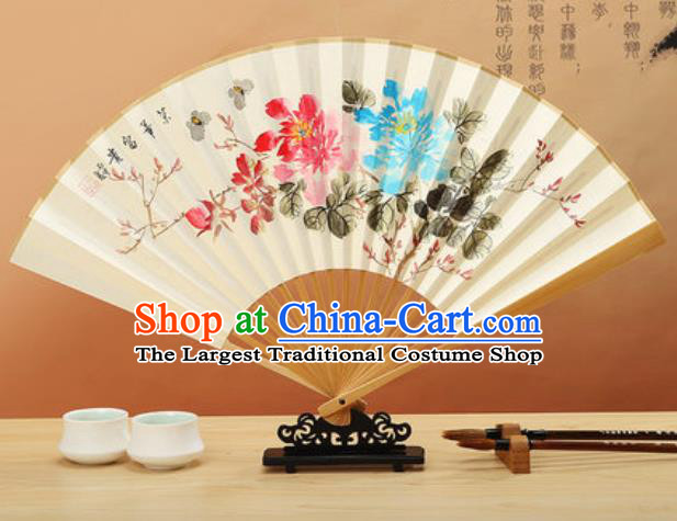 Chinese Hand Painting Peony Plum Flowers Paper Fan Traditional Classical Dance Accordion Fans Folding Fan