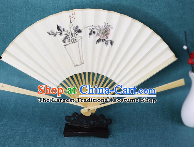 Handmade Chinese Ink Painting Peony Paper Fan Traditional Classical Dance Accordion Fans Folding Fan