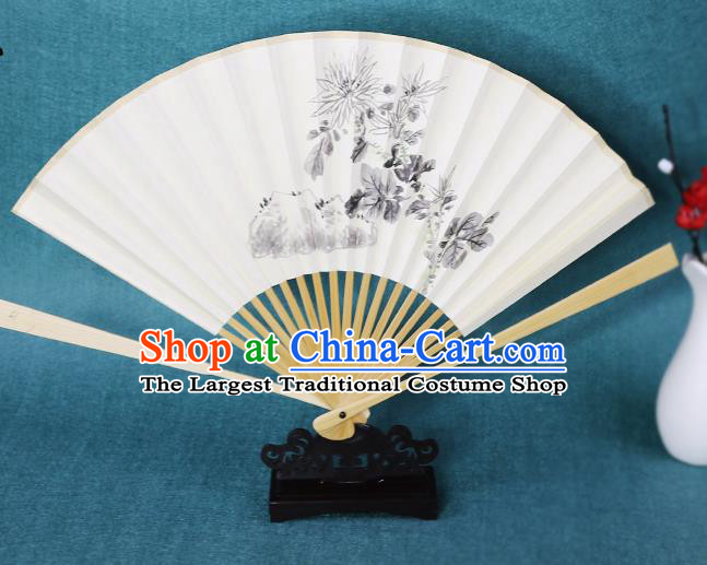 Handmade Chinese Ink Painting Chrysanthemum Paper Fan Traditional Classical Dance Accordion Fans Folding Fan