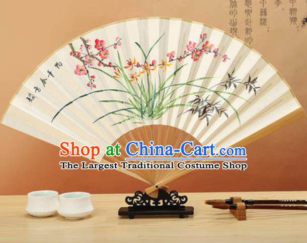 Chinese Hand Painting Orchids Bamboo Plum Paper Fan Traditional Classical Dance Accordion Fans Folding Fan