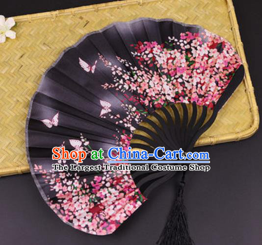 Handmade Chinese Printing Primrose Butterfly Black Satin Fan Traditional Classical Dance Accordion Fans Folding Fan