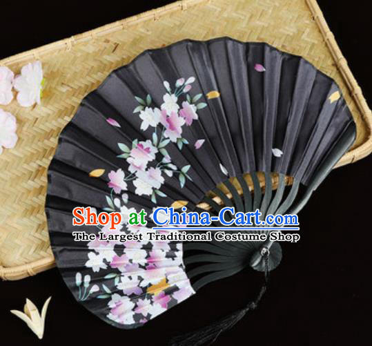 Handmade Chinese Printing Sakura Black Satin Fan Traditional Classical Dance Accordion Fans Folding Fan