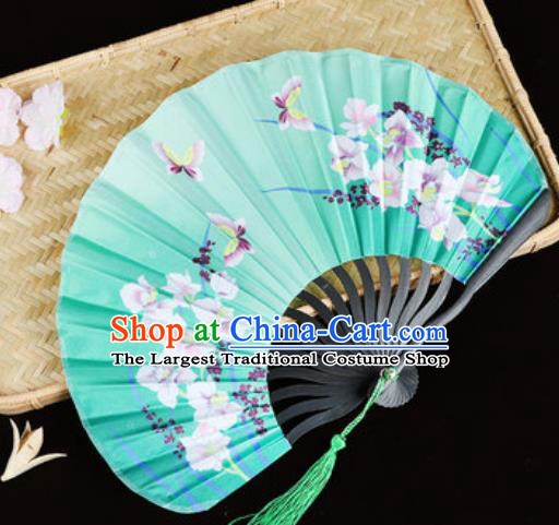 Handmade Chinese Printing Orchids Butterfly Green Satin Fan Traditional Classical Dance Accordion Fans Folding Fan