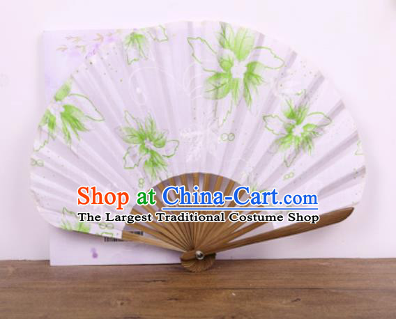 Handmade Chinese Printing Green Flowers Satin Fan Traditional Classical Dance Accordion Fans Folding Fan