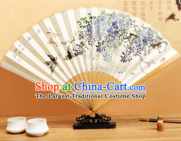Chinese Hand Painting Wisteria Birds Paper Fan Traditional Classical Dance Accordion Fans Folding Fan
