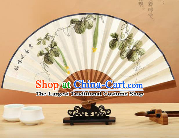 Chinese Hand Painting Luffa Vine Paper Fan Traditional Classical Dance Accordion Fans Folding Fan