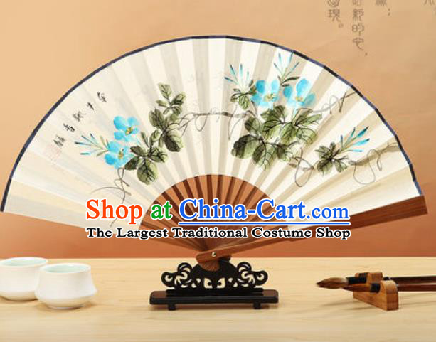 Chinese Hand Painting Petunia Paper Fan Traditional Classical Dance Accordion Fans Folding Fan