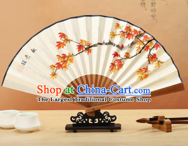 Chinese Hand Painting Maple Leaf Paper Fan Traditional Classical Dance Accordion Fans Folding Fan